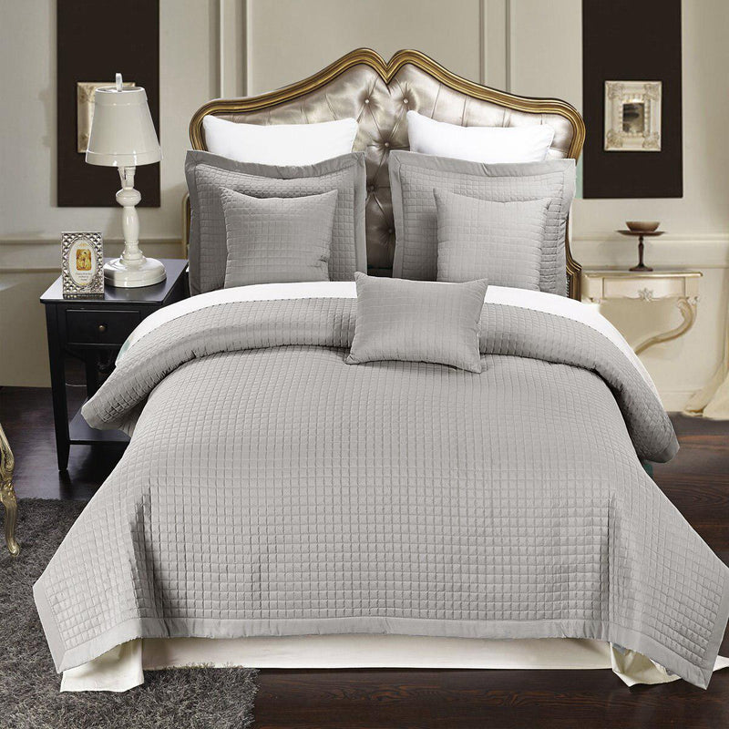 Luxury Checkered Quilted Wrinkle-Free 2-3 Piece Quilted Coverlet Set-Royal Tradition-Twin/Twin XL-Gray-Egyptian Linens