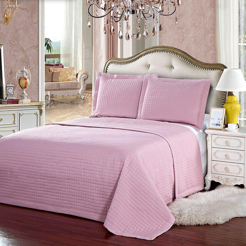 Luxury Checkered Quilted Wrinkle-Free 2-3 Piece Quilted Coverlet Set-Royal Tradition-Twin/Twin XL-Pink-Egyptian Linens