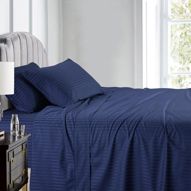 Luxury Split King Adjustable Bed Sheets 100% Cotton 600 Thread Count Damask Striped-Royal Tradition-Navy-Egyptian Linens