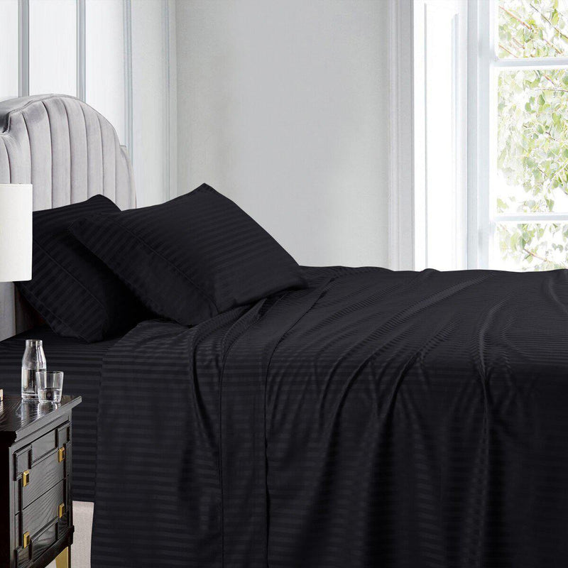 Luxury Split King Adjustable Bed Sheets 100% Cotton 600 Thread Count Damask Striped-Royal Tradition-Black-Egyptian Linens
