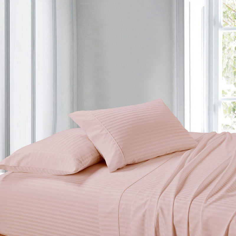 Split Adjustable Dual King Sheet Set - Striped 300 Thread count-Royal Tradition-Blush-Egyptian Linens