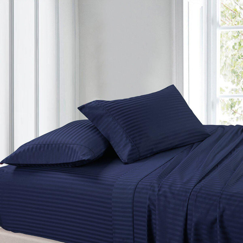 Split Adjustable Dual King Sheet Set - Striped 300 Thread count-Royal Tradition-Navy-Egyptian Linens