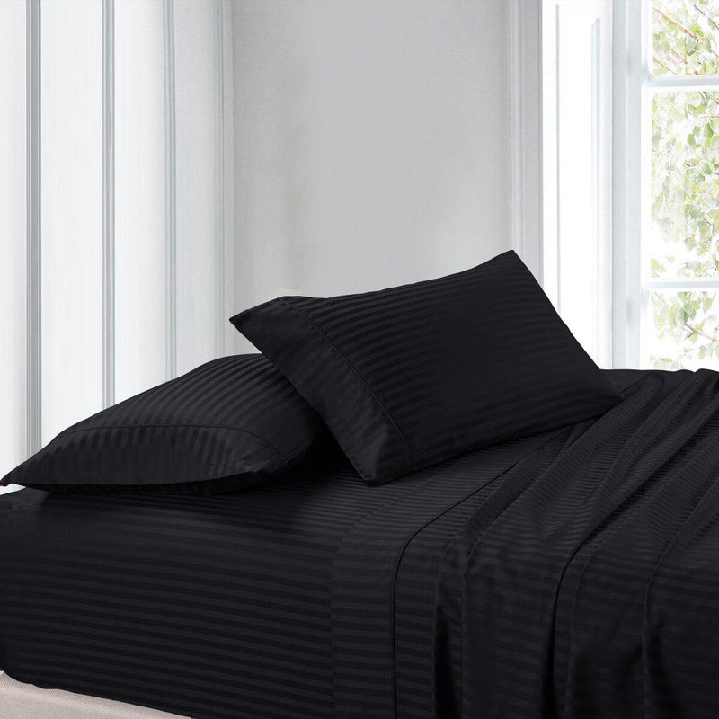 Split Adjustable Dual King Sheet Set - Striped 300 Thread count-Royal Tradition-Black-Egyptian Linens