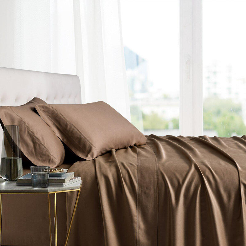 Split King Adjustable Bed Sheets - 100% Bamboo Viscose-Royal Tradition-Taupe-Egyptian Linens