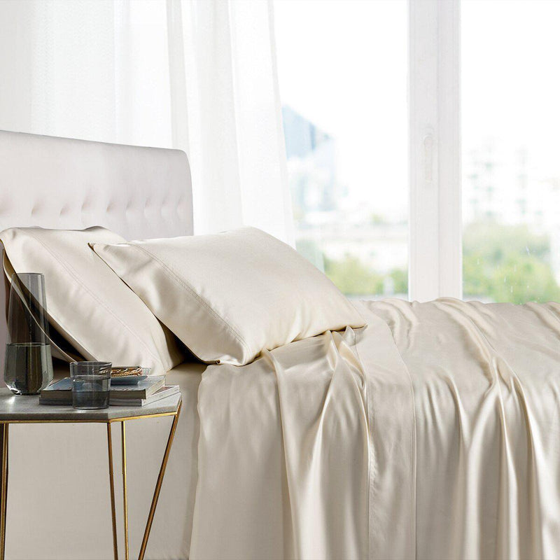 Split King Adjustable Bed Sheets - 100% Bamboo Viscose-Royal Tradition-Ivory-Egyptian Linens