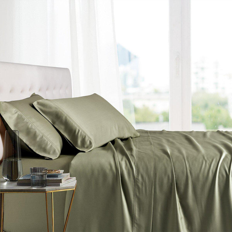 Split King Adjustable Bed Sheets - 100% Bamboo Viscose-Royal Tradition-Sage-Egyptian Linens