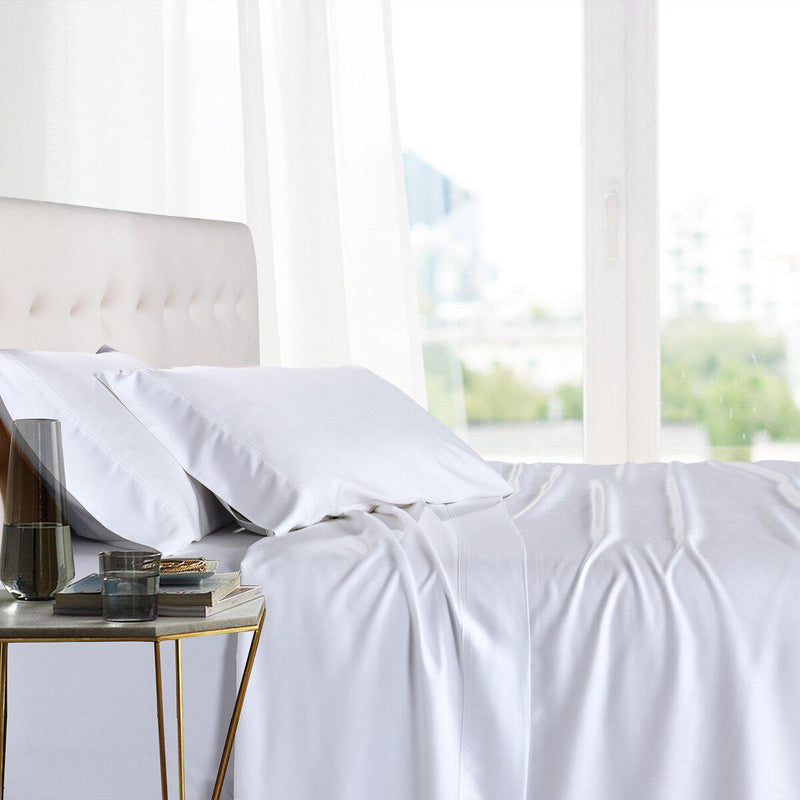Split King Adjustable Bed Sheets - 100% Bamboo Viscose-Royal Tradition-White-Egyptian Linens
