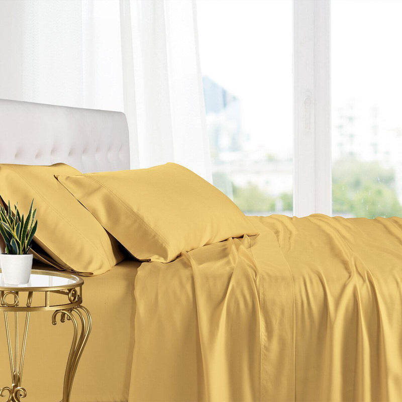 Split King Adjustable Bed Sheets - 100% Bamboo Viscose-Royal Tradition-Gold-Egyptian Linens