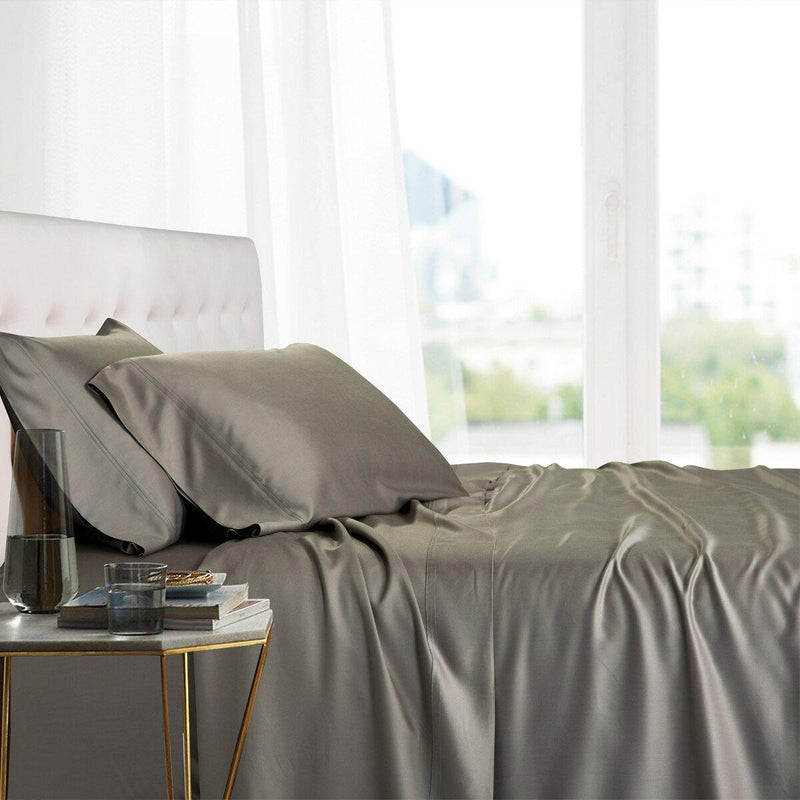 Split King Adjustable Bed Sheets - 100% Bamboo Viscose-Royal Tradition-Gray-Egyptian Linens