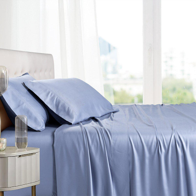 Split King Adjustable Bed Sheets - 100% Bamboo Viscose-Royal Tradition-Periwinkle-Egyptian Linens