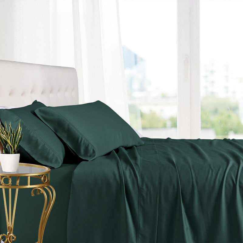 Split King Adjustable Bed Sheets - 100% Bamboo Viscose-Royal Tradition-Teal-Egyptian Linens