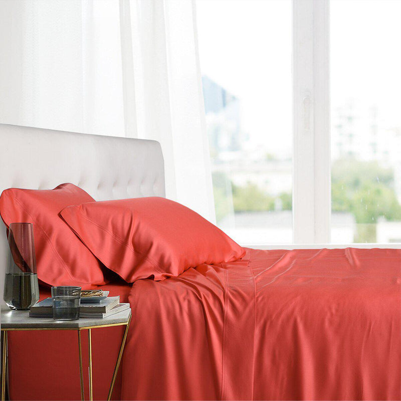 Split King Adjustable Bed Sheets - 100% Bamboo Viscose-Royal Tradition-Coral-Egyptian Linens