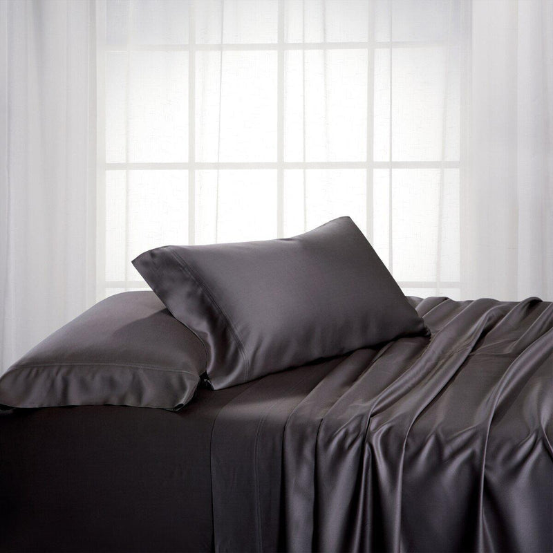 Split King Dual King Adjustable Bed Sheets Set - Bamboo Cotton (Hybrid)-Royal Tradition-Charcoal-Egyptian Linens