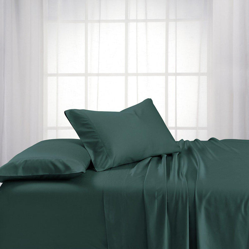 Split King Dual King Adjustable Bed Sheets Set - Bamboo Cotton (Hybrid)-Royal Tradition-Teal-Egyptian Linens