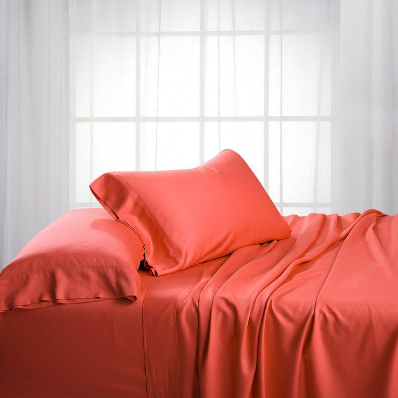 Split King Dual King Adjustable Bed Sheets Set - Bamboo Cotton (Hybrid)-Royal Tradition-Coral-Egyptian Linens