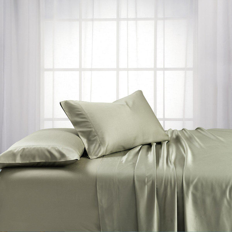 Split King Dual King Adjustable Bed Sheets Set - Bamboo Cotton (Hybrid)-Royal Tradition-Sage-Egyptian Linens