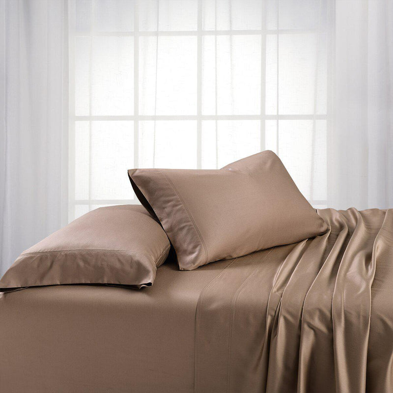 Split King Dual King Adjustable Bed Sheets Set - Bamboo Cotton (Hybrid)-Royal Tradition-Taupe-Egyptian Linens