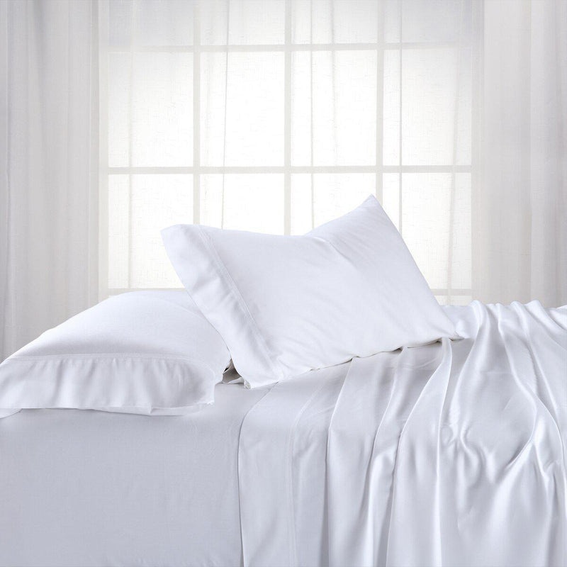Adjustable Split King Sheets - Cooling Bamboo Viscose 600 Thread Count-Abripedic-White-Egyptian Linens