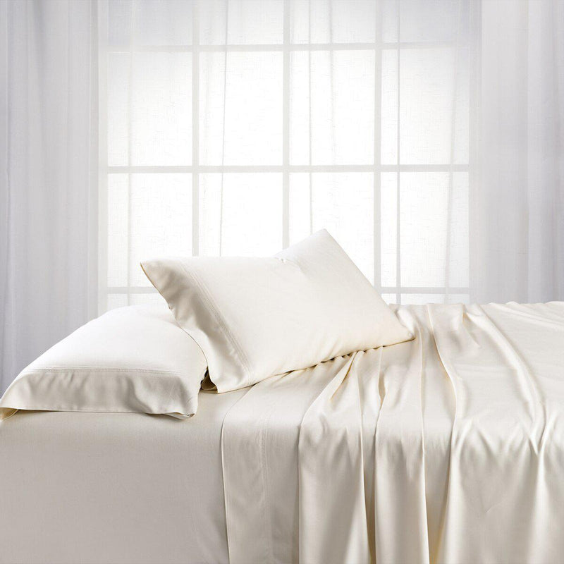 Adjustable Split King Sheets - Cooling Bamboo Viscose 600 Thread Count-Abripedic-Ivory-Egyptian Linens