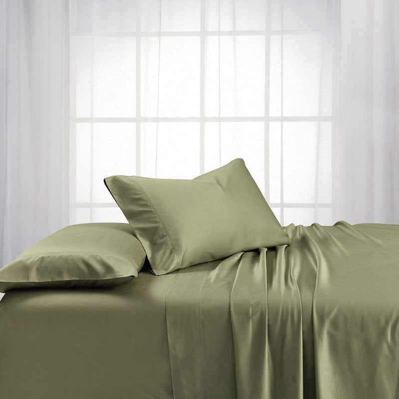 Adjustable Split King Sheets - Cooling Bamboo Viscose 600 Thread Count-Abripedic-Sage-Egyptian Linens