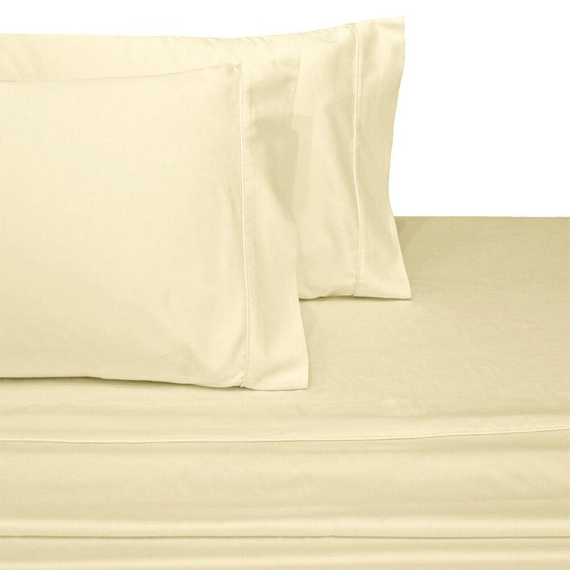 Split Top King Sheets 300 Thread Count 100% Cotton (Half Split Fitted)-Royal Tradition-Ivory-Egyptian Linens