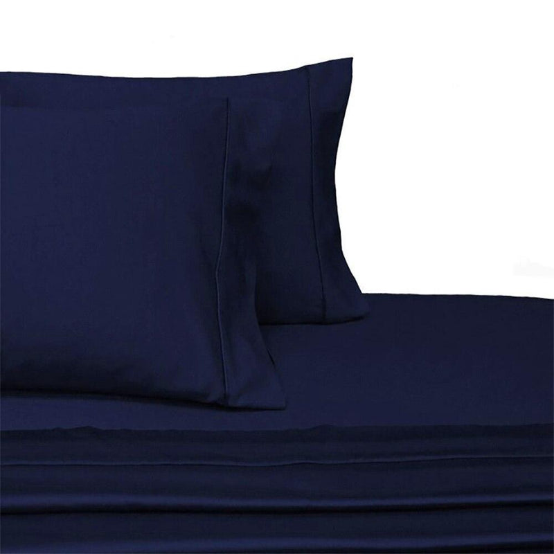 Split Top King Sheets 300 Thread Count 100% Cotton (Half Split Fitted)-Royal Tradition-Navy-Egyptian Linens
