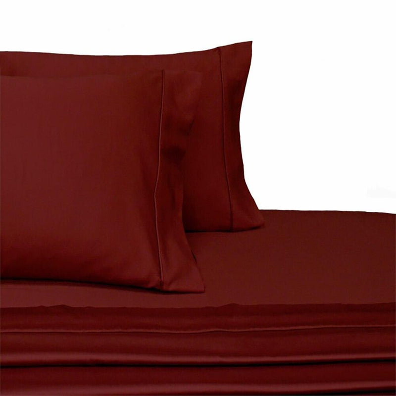 Split Top King Sheets 300 Thread Count 100% Cotton (Half Split Fitted)-Royal Tradition-Burgundy-Egyptian Linens