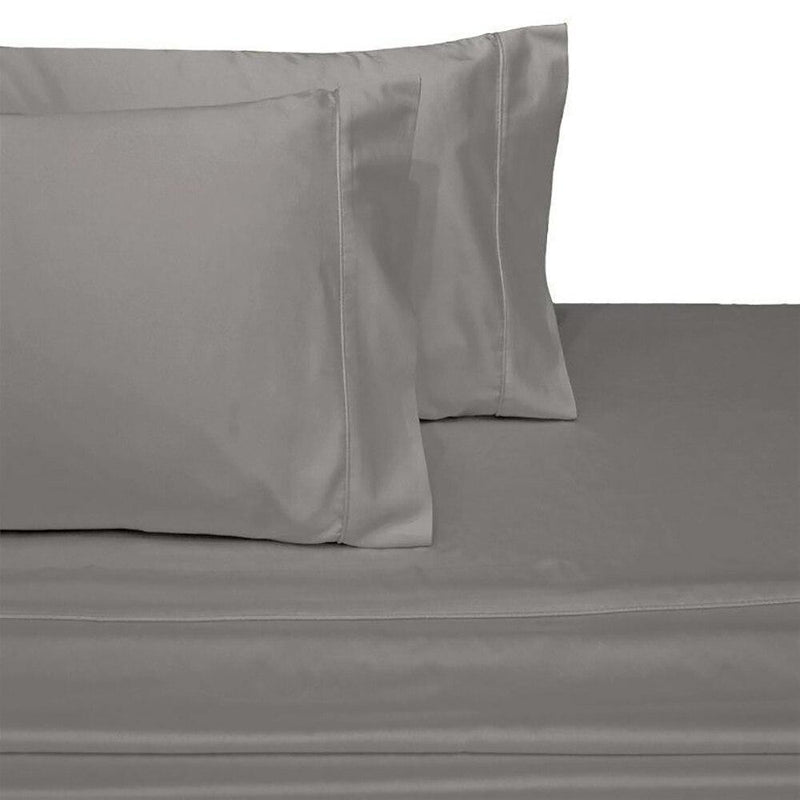 Split Top King Sheets 300 Thread Count 100% Cotton (Half Split Fitted)-Royal Tradition-Gray-Egyptian Linens