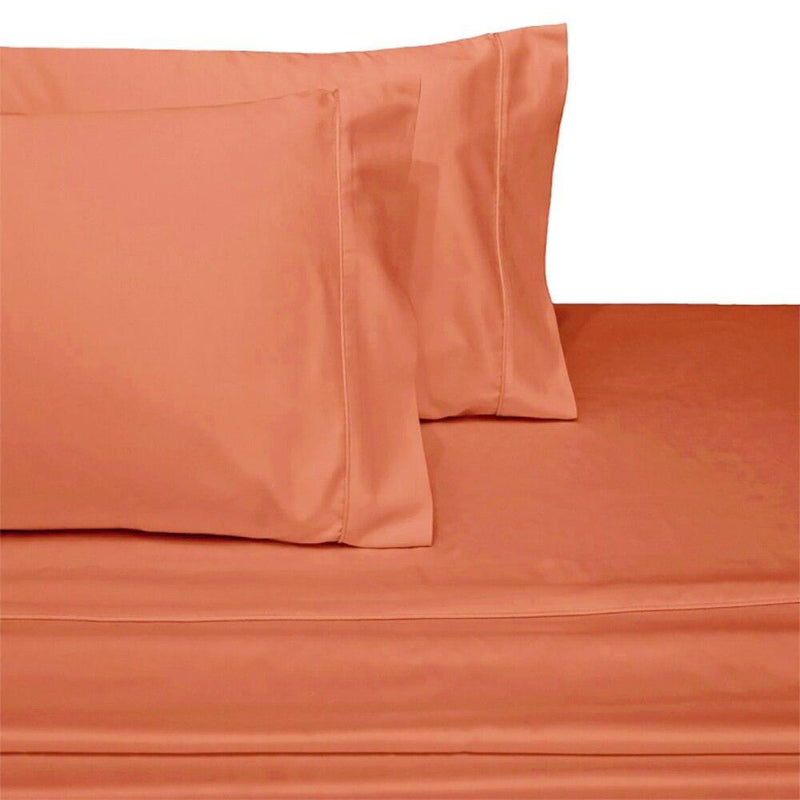 Split Top King Sheets 300 Thread Count 100% Cotton (Half Split Fitted)-Royal Tradition-Coral-Egyptian Linens