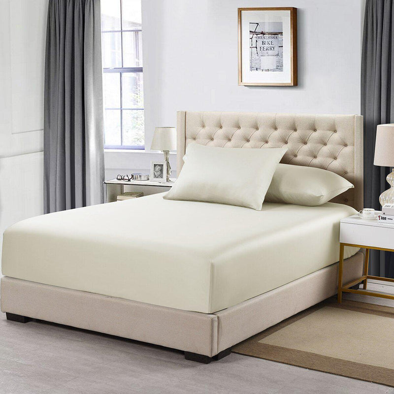 Flex Top California King Fitted Sheet Only- Solid 608 Thread Count-Royal Tradition-Ivory-Egyptian Linens