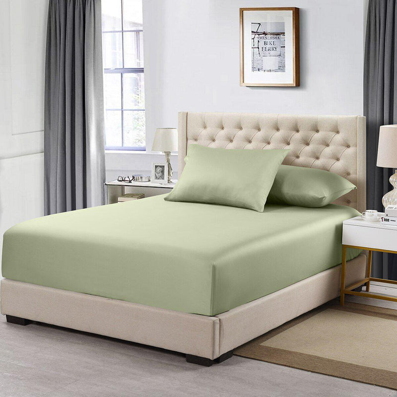 Flex Top California King Fitted Sheet Only- Solid 608 Thread Count-Royal Tradition-Sage-Egyptian Linens