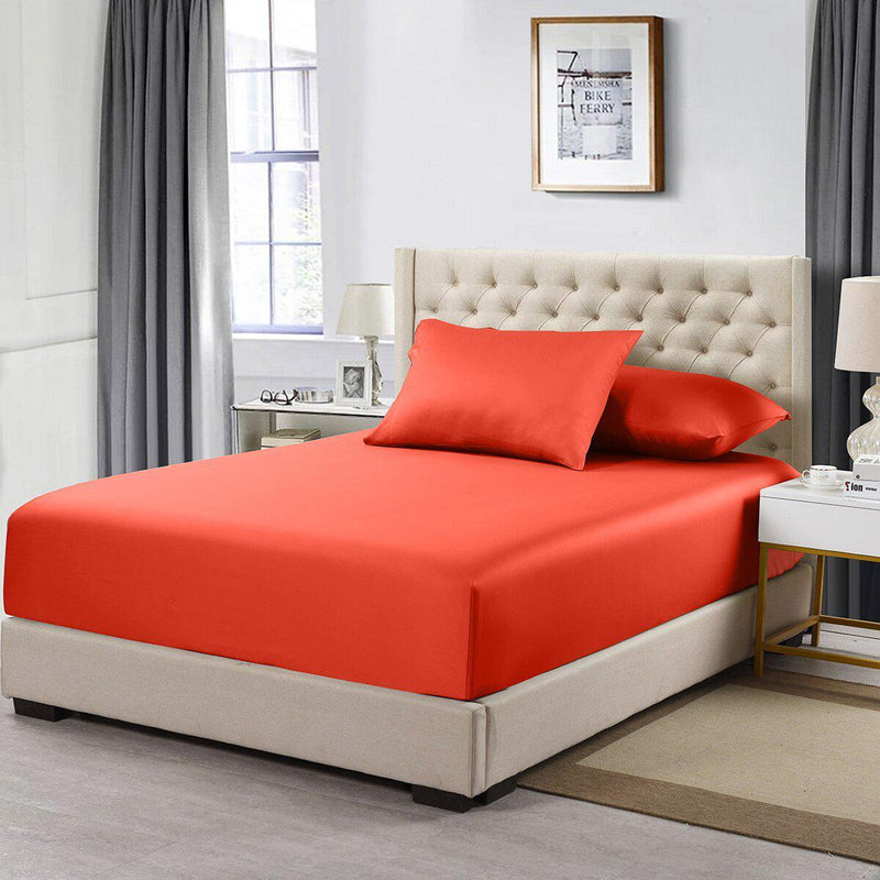 Flex Top California King Fitted Sheet Only- Solid 608 Thread Count-Royal Tradition-Coral-Egyptian Linens