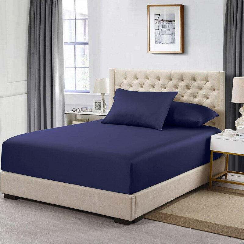 Flex Top California King Fitted Sheet Only- Solid 608 Thread Count-Royal Tradition-Navy-Egyptian Linens