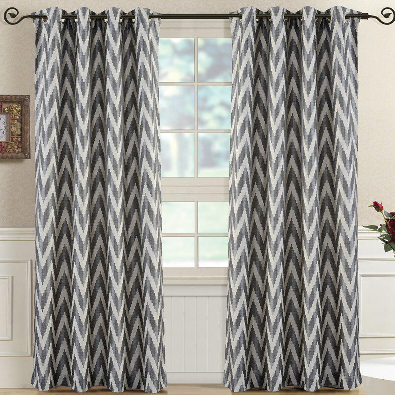 "Pair (Set of 2) Lisette Chevron Top Grommet Window Curtain Panels, 108 Inches Total Width-Royal Tradition-54 x 63"" Pair-Charcoal-Egyptian Linens"