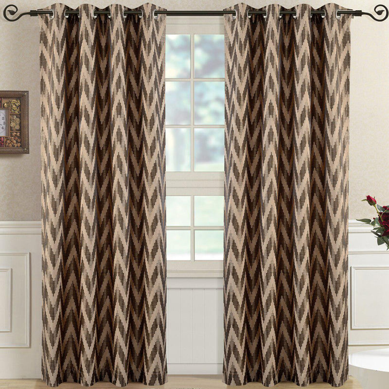 "Pair (Set of 2) Lisette Chevron Top Grommet Window Curtain Panels, 108 Inches Total Width-Royal Tradition-54 x 63"" Pair-Mocha-Egyptian Linens"