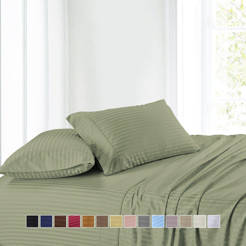Attached Waterbed Sheet Set Stripe 300 Thread Count-Royal Tradition-Egyptian Linens