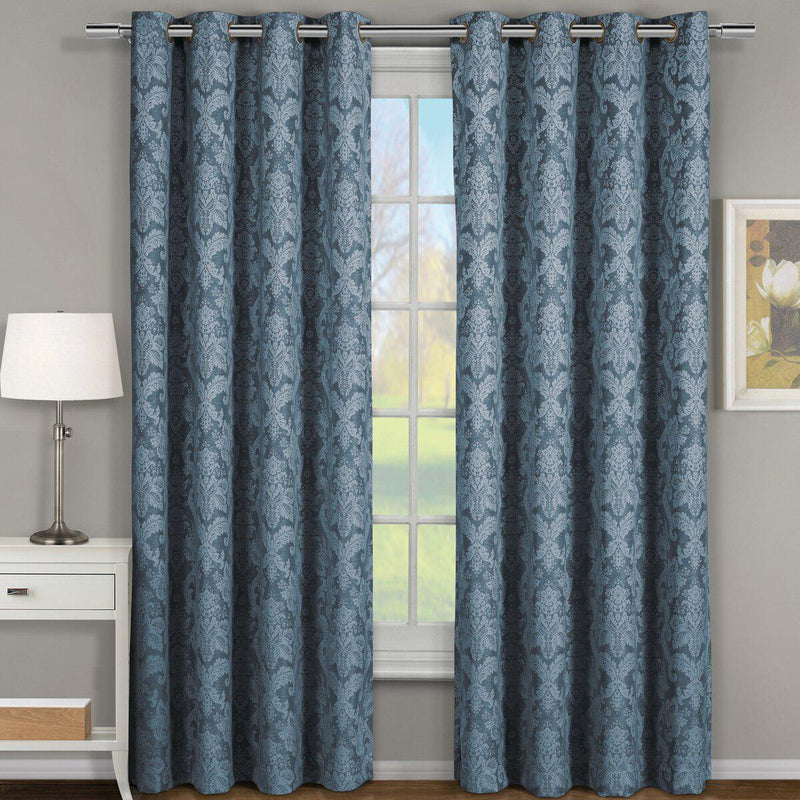 "Blair Damask Floral Curtains Jacquard Drapes Grommet Top Panels (Set of 2)-Royal Tradition-54 x 96"" Pair-Grayish Blue-Egyptian Linens"