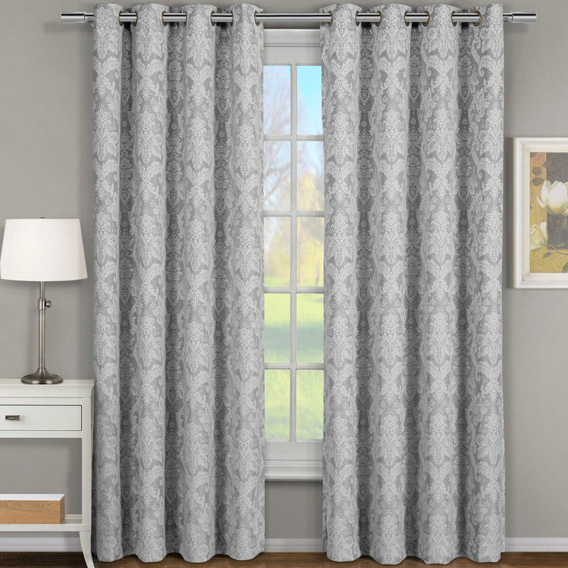 "Blair Damask Floral Curtains Jacquard Drapes Grommet Top Panels (Set of 2)-Royal Tradition-54 x 84"" Pair-Gray-Egyptian Linens"