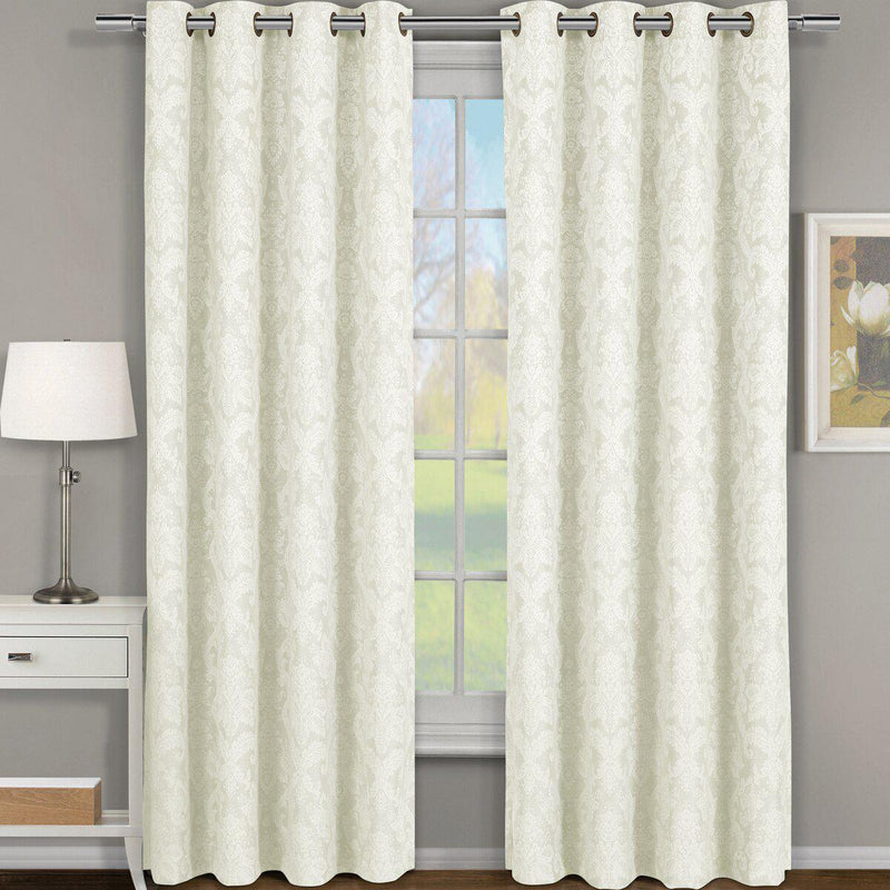 "Blair Damask Floral Curtains Jacquard Drapes Grommet Top Panels (Set of 2)-Royal Tradition-54 x 108"" Pair-Off-White-Egyptian Linens"