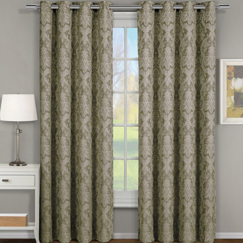 "Blair Damask Floral Curtains Jacquard Drapes Grommet Top Panels (Set of 2)-Royal Tradition-54 x 63"" Pair-Sage-Egyptian Linens"