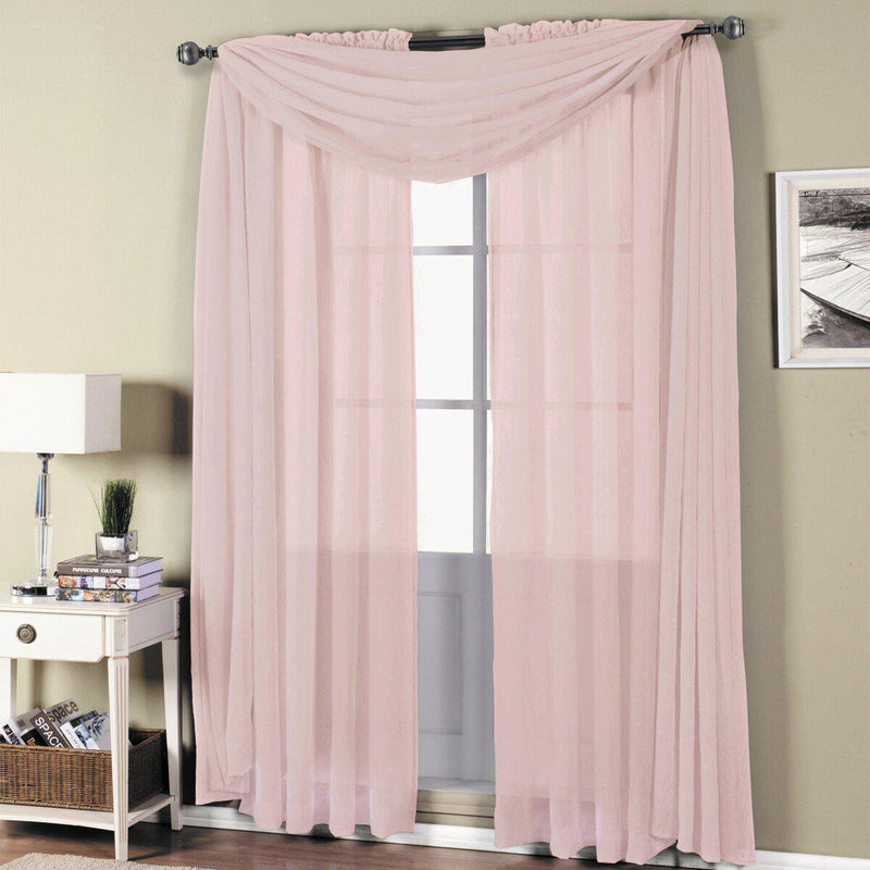 "Abri Rod Pocket Crushed Sheer Curtain Panel (Single)-Royal Tradition-50 x 120"" Panel-Mauve-Egyptian Linens"