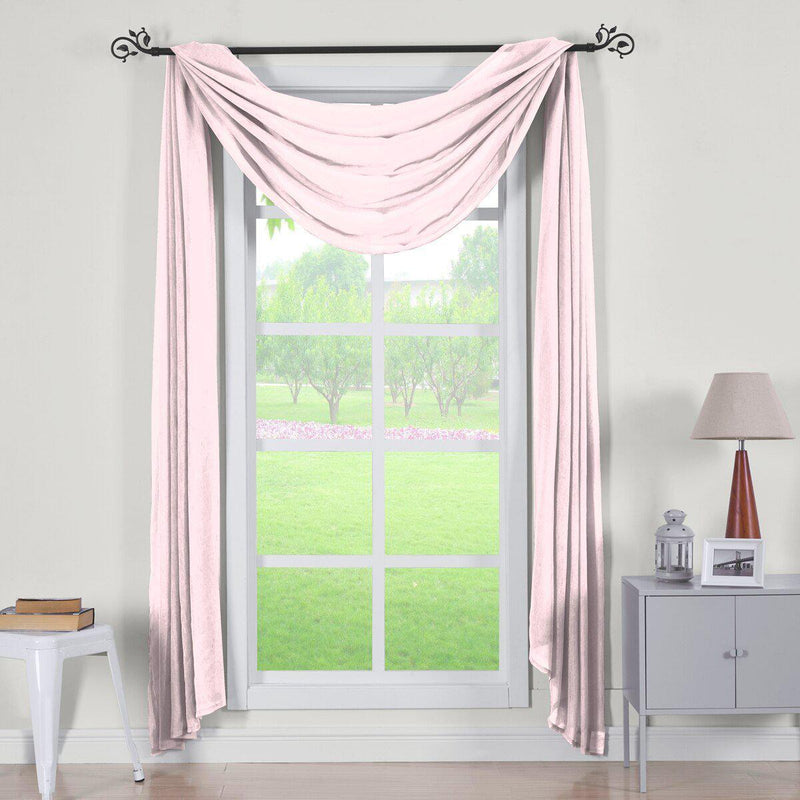 "Abri Rod Pocket Crushed Sheer Curtain Panel (Single)-Royal Tradition-50 x 216"" Scarf-Mauve-Egyptian Linens"