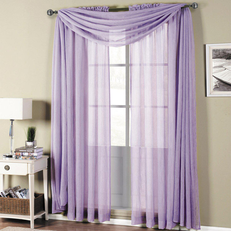 "Abri Rod Pocket Crushed Sheer Curtain Panel (Single)-Royal Tradition-50 x 63"" Panel-Lavender-Egyptian Linens"