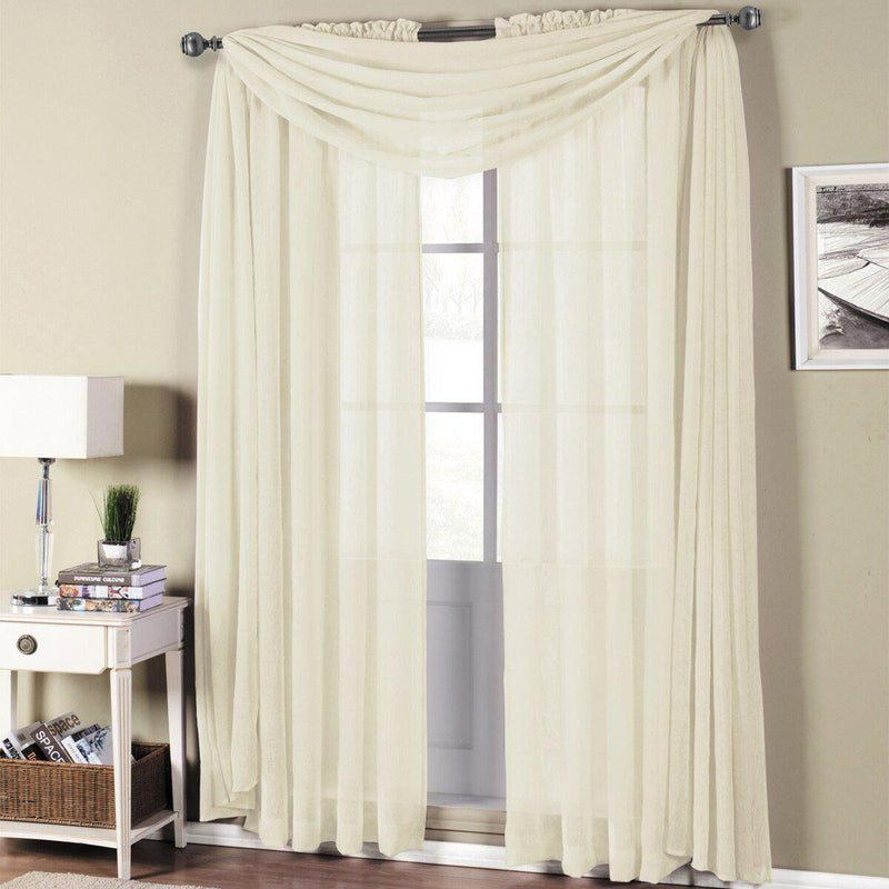"Abri Rod Pocket Crushed Sheer Curtain Panel (Single)-Royal Tradition-50 x 63"" Panel-Ivory-Egyptian Linens"