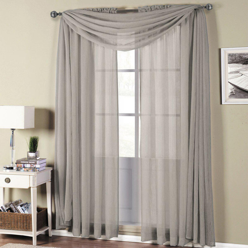 "Abri Rod Pocket Crushed Sheer Curtain Panel (Single)-Royal Tradition-50 x 63"" Panel-Grey-Egyptian Linens"