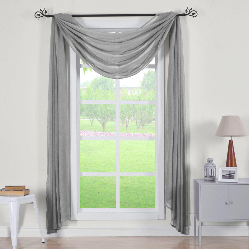 "Abri Rod Pocket Crushed Sheer Curtain Panel (Single)-Royal Tradition-50 x 216"" Scarf-Grey-Egyptian Linens"