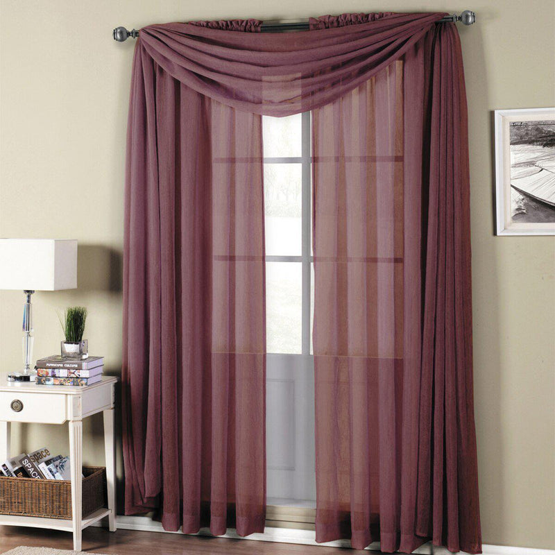 "Abri Rod Pocket Crushed Sheer Curtain Panel (Single)-Royal Tradition-50 x 63"" Panel-Eggplant-Egyptian Linens"