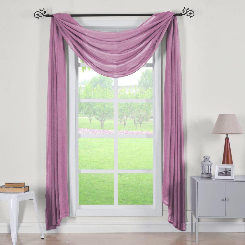 "Abri Rod Pocket Crushed Sheer Curtain Panel (Single)-Royal Tradition-50 x 216"" Scarf-Eggplant-Egyptian Linens"
