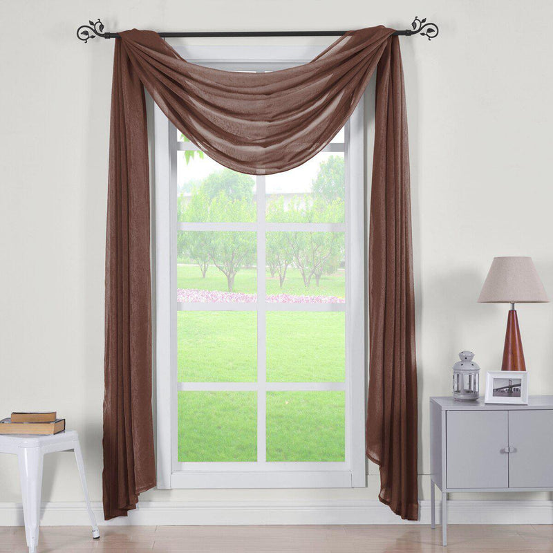 "Abri Rod Pocket Crushed Sheer Curtain Panel (Single)-Royal Tradition-50 x 216"" Scarf-Chocolate-Egyptian Linens"
