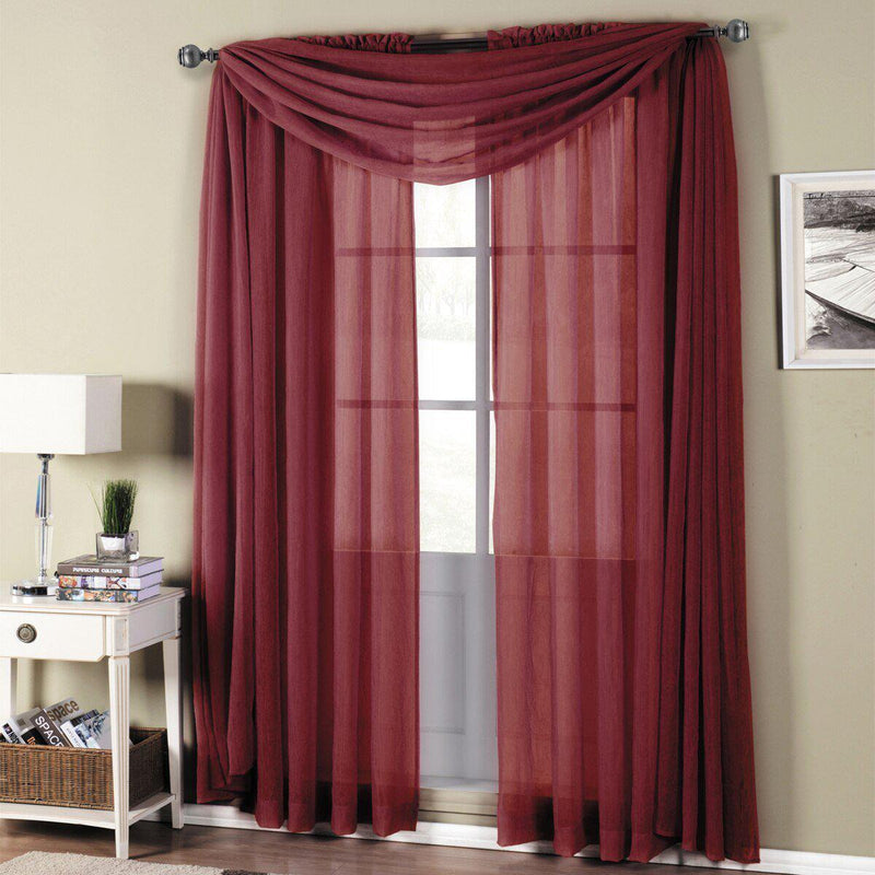 "Abri Rod Pocket Crushed Sheer Curtain Panel (Single)-Royal Tradition-50 x 63"" Panel-Burgundy-Egyptian Linens"